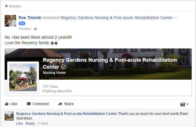 New 5 Star Review For Regency Gardens On Facebook!